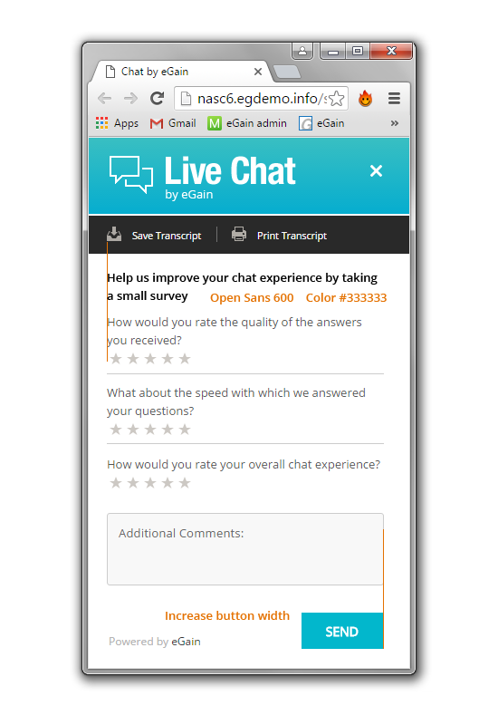Live chat survey
