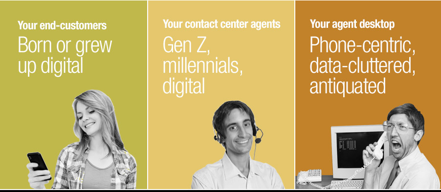 Customers and agents, both are digital. Agent desktop remains phone-centric.