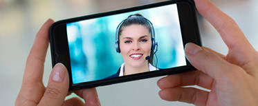 A customer-agent video chat