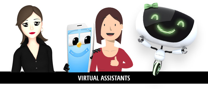 Various avatars of virtual assistants or chatbots